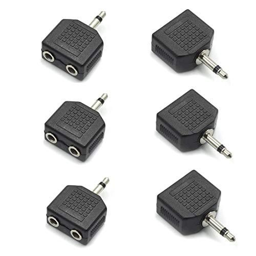 QMseller - Conversor de Audio Mono Macho de 3,5 mm a Doble Hembra de 3,5 mm, 6 Unidades