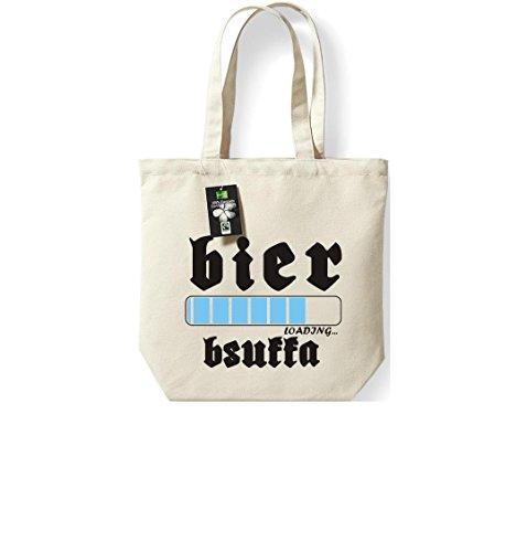 Fairtrade Stoffbeutel Wiesn BIER loading...BSUFFA Oktoberfest Baumwolltasche, Farbe natur