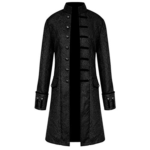 OMINA Long Trench Coat Men, Mens Tailcoat Winter Slim Fit Men Coat Leightweight Buttons Outwear Black Jackets Vintage