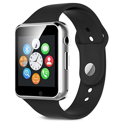 SYL Plus A1 Bluetooth Smart Watch with Camera and SIM Card Support for All Android and iOS Smartphones (Silver)