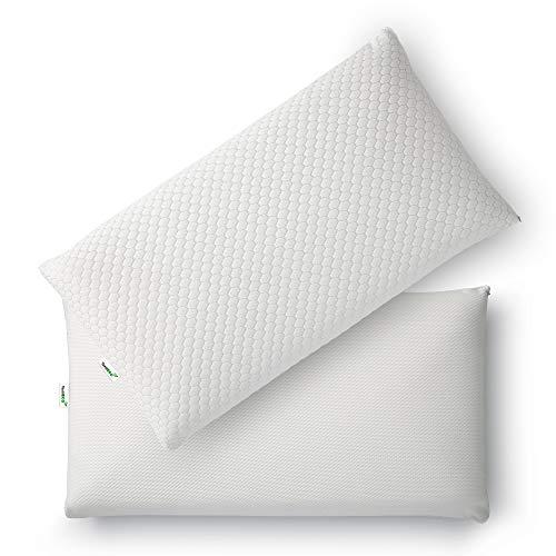 TextilECO Almohada Viscoelastica con Cremallera. Compacta Comoda Transpirable Adaptable. 2 Caras Verano Tejido 3D Invierno Acolchado. Funda Lavable. Firmeza Media. Biconfort. 75 cm
