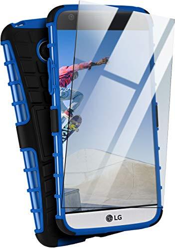 MoEx Set di Protezione Blindata Custodia Tank + Vetro di Protezione Adatto per LG G5 | Vetro temperato + Copertura a Doppio Strato Robusta, Blu Nero