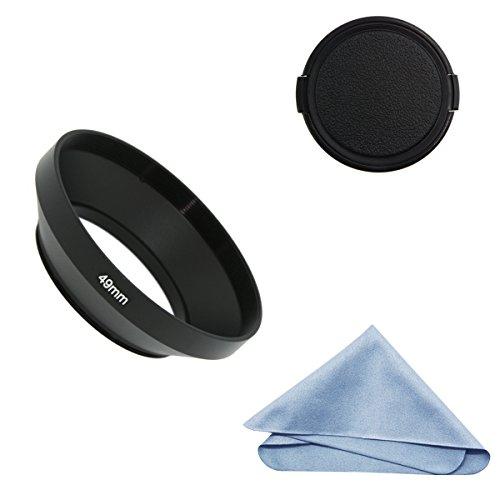 SIOTI Parasol de Objetivo Gran Angular + paño de Limpieza + Tapa del Objetivo para Nikon Canon Sony Fuji Pentax Sumsung Leica Lente de Rosca estándar