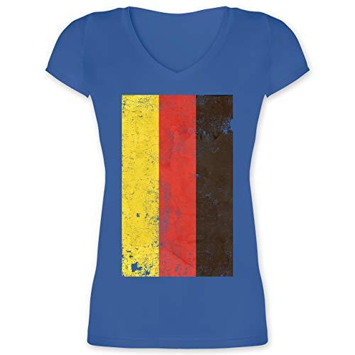 Handball WM 2021 - Deutschland Flagge Vintage - 3XL - Blau - Deutschland Flagge - XO1525 - Damen T-Shirt mit V-Ausschnitt