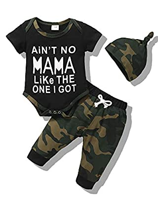 Newborn Boy Boy Clothes Infant Boy Outfit 0-3 Months Romper Short Sleeve Ain't No Mama Like The One I Got Top Camouflage Long Pants with Hat Gift 3PC Toddler Clothing Set from