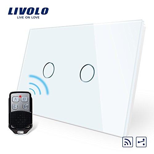 LIVOLO Wireless Remoto Interruttore della Luce con Indicatore LED Touch Switch con Pannello in Cristallo Toccare Interruttore a parete per Illuminazione Domestica,2 Gang 2 Way,C902SR-11