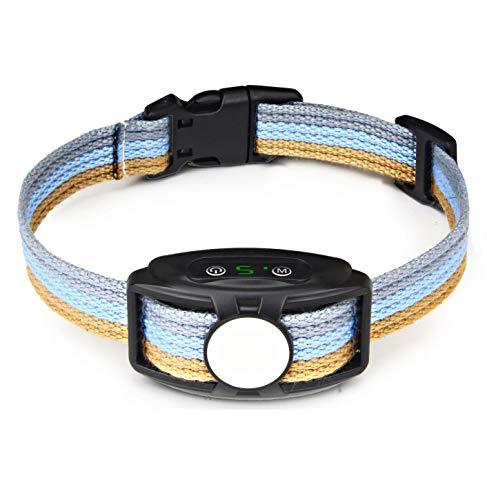 xuehaostore Collar Antiladridos para Perros, Automático Collar Adiestramiento con Sonido, Vibración sin Choque, 5 Niveles de Sensibilidad, Impermeable y Recargable (Azul01)