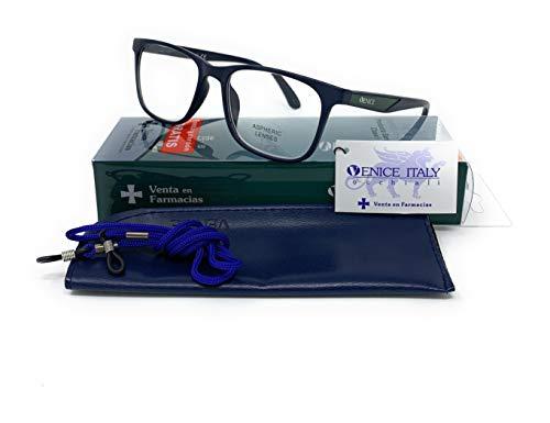 Gafas de lectura, presbicia, vista cansada, Diseño en 4 Colores. VENICE Executive - Dioptrías: 1 a 3,5 (Azul, 1.00)