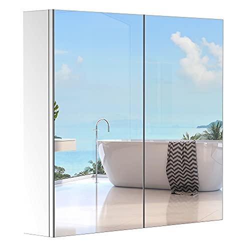 HOMCOM Armoire Miroir Rangement Toilette Salle de Bain Meuble Mural dim. 60L x 12l x 55H cm Acier INOX.