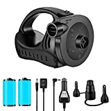 Vansky Electric Air Pump, 3 Nozzles Rechargeable Inflator Deflator with Handle for Indoor Air Yoga Ball, Air Mattress, Air Sofa and Pool Floats