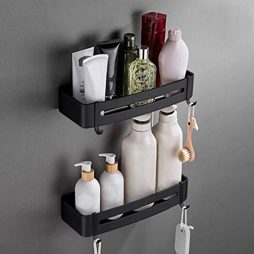 YOOKEA Duschregal Duschablagen Ohne Bohren 2 Stück Aluminium Eckablage Selbstklebender Eckregal für Bad mit 4 Haken Schwarz