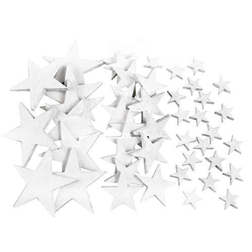 Logbuch-Verlag 28 Teile Streudeko Set Holzsterne 3 Größen weiß Streuteile kleine Sterne Holz Weihnachtsdeko Streuen Deko Weihnachten basteln