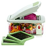 Brieftons QuickPush Chopper: Onion Mincer, Vegetable Chopper, Cutter, Dicer, Slicer, 3 Extra-Large Blades with 200% More Cutting Surface to Chop, Dice, Slice Vegetables, with 2.6-Quart Container
