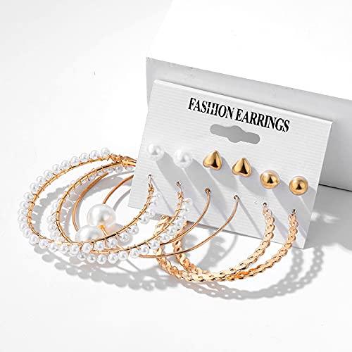FEARRIN Pendientes Vintage Rhinestone Stud Trendy Pearl Hoop Pendientes para Mujer Gold Geometirc Circle Butterfly Pendientes Brincos Gift Wedding Jewelry H187-0723-07