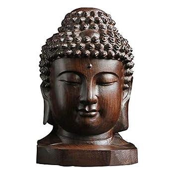 Fuhu 6cm Wooden Buddha Head Statue Religious Sakyamuni Tathagata Figurine Mahogany India Buddha Statue Crafts Decorative Art Collection