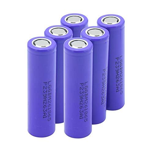 THENAGD Flat Top Lithiumbatterien Mit Hohem Stromverbrauch 18650 3.7v 2600mah, Batterie für Power Bank 6pieces