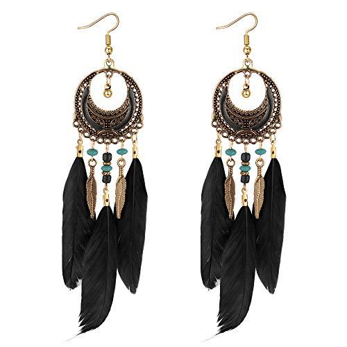 YAZILIND blattform dangel Ohrringe Gypsy Boho lange Feder Legierung Schmuck Party Zubehör für Frauen Mädchen (schwarz)