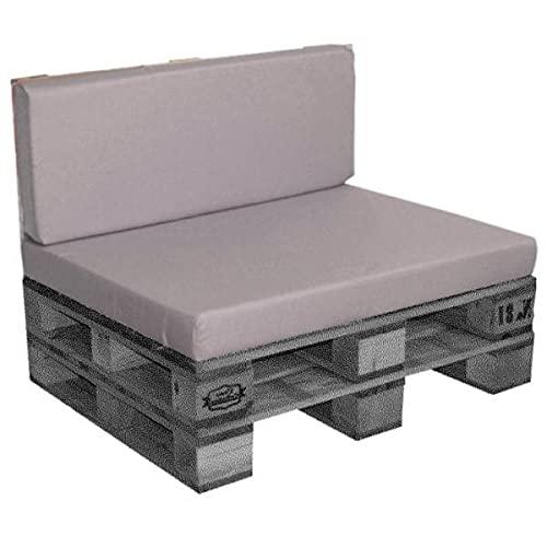 Cojín / colchón de exterior para paleta [EUR] de fibra comprimida, desenfundable, impermeable, marrón/lino, 120 x 80 x 10 cm, 100% poliéster.