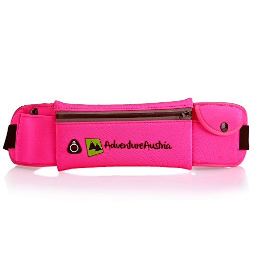 AdventureAustria Cinturón de Correr Súper Ligero Running Belt Deportivo - para Fitness Ciclismo Jogging Gimnasio Viajes etc. Adecuada para Hombre Mujeres Niños. Ajustable y Reflectante. (Rosa)