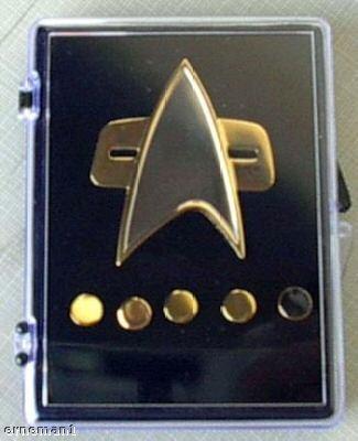 Unbekannt Voyager Star Trek Communicator Abzeichen + Rank pin Set 6 teilig Metall
