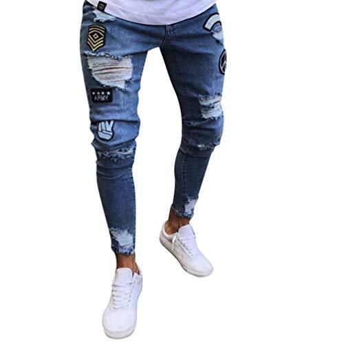 WanYangg Pantalones Vaqueros Rotos Hombre, Skinny Rajados Mezclilla Jeans Pantalones Vaqueros Elásticos Slim Fit Flaco Rodilla Ripped Jean Denim Pantalón con Parche De La Insignia Azul Claro S