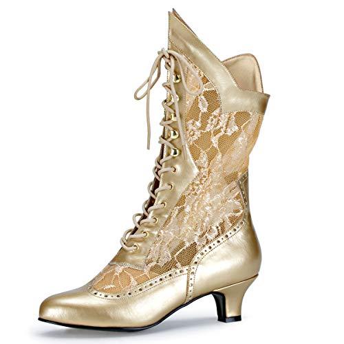 Higher-Heels Funtasma Kostüm-Stiefeletten Dame-115 mattgold Gr. 40