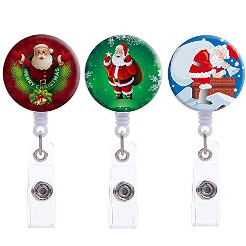 Nurse Badge Reel Holder, 3 Pack Merry Christmas Santa Claus Badge Reel, Retractable Badge Holder with Alligator Clip Name Decorative Badge Reel Clip on Card Holders