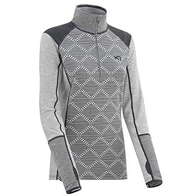 Kari Traa Women's Rett Base Layer Top - Half Zip Merino Wool Blend Thermal Shirt Grey Large