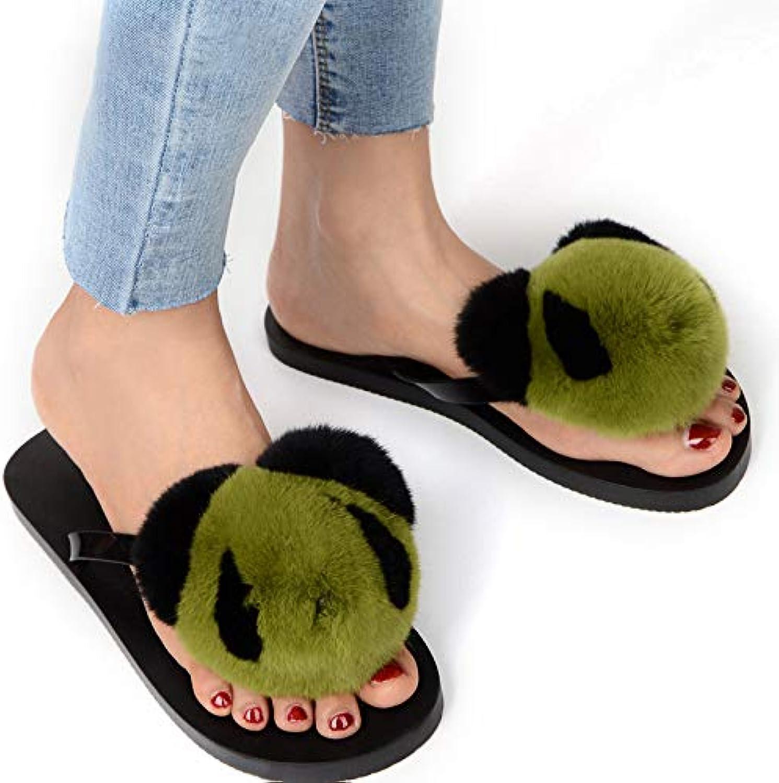 Women Flip Flops Fur Sandals Fluffy Real Rabbit Hair Cartoon Heart-Shaped Indoor Slippers Lady Cute Plush shoes