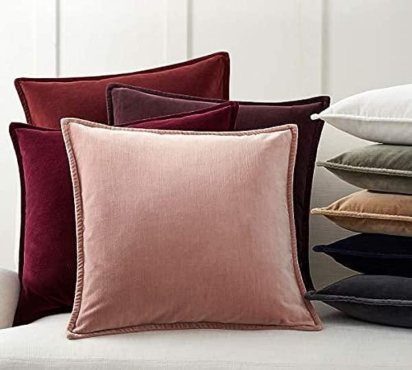 ARA Decor Pack Of 2 Velvet Soft Soild Decorative Square Throw Pillow Covers Set Cushion Case For Sofa Bedroom Car 18 X 18 Inch 45 X 45 Cm In Dusky Rose Color