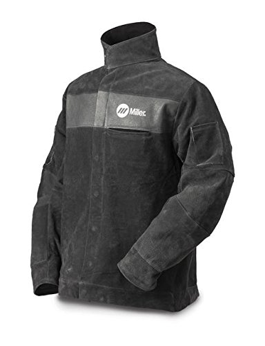 "Welding Jacket, L, 30"" L, Gray, Leather"