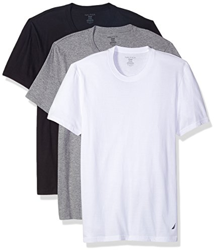 Nautica Men's Cotton Crew Neck T-Shirt - Multi Packs, New White/Black/Heather Grey, LG