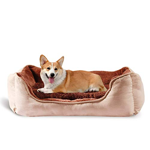 BIGLUFU Dog Bed Super Soft Pet Sofa Cats Beds, Non Slip Bottom Pet Lounger, Self Warming and Breathable Pet Bed Premium Bedding (Medium, Brown)