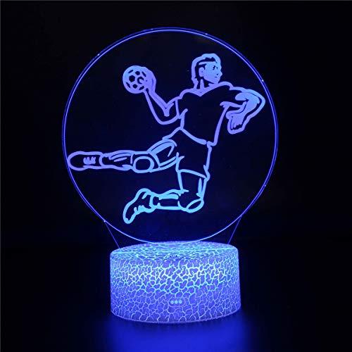 3D-Illusionslampe, LED-Nachtlicht mit 16 blinkenden Farben, Handball-Geschenkidee für Teenager, Mädchen, 16 wechselnde Farben, Schreibtischlampe für Kinder, Geburtstag, Weihnachten
