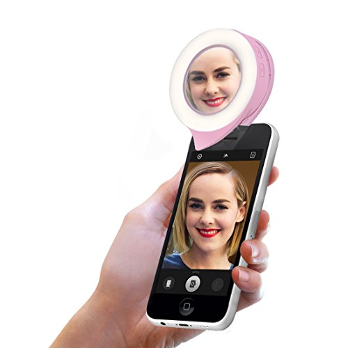 UY CHAN 3 Mode Clip on Portable Round Flash LED Selfie Ring Light Adjust Enhancing for Smart Phone Camera with Mirror [700mAh Rechargeable Battery]