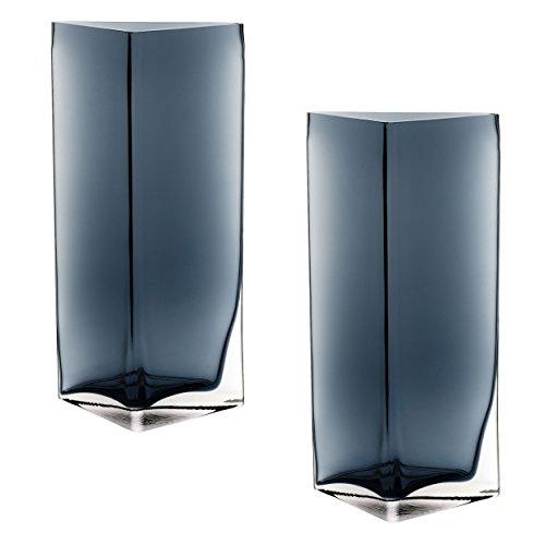 Leonardo Centro vaas driehoek, set van 2, bloemenvaas, glazen vaas, tafelvaas, decoratieve ovase, bloempot, glas, blauw, 23 cm, 046952