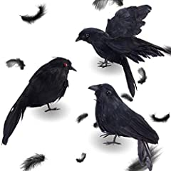 Value suit: Each part contains 3 simulated crows, two of which are standing and the other is expanding the wings fly, they have different postures and realistic appearance. Size and material: The size of the simulated crow is 6.3inch, they are handma...