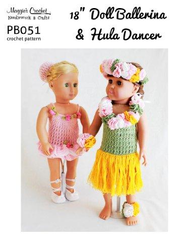 Crochet Pattern 18-in Doll Ballerina & Hula Dancer PB051-R aff