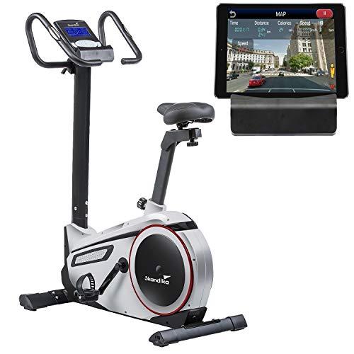 skandika Ergometer Morpheus, Fitnessbike, Heimtrainer mit Steuerung und Street View Funktion, Pulsgurt, 32 einstellbare Widerstandseinstellung und Multifunktionscomputer mit Kalorienverbrauch (silber)