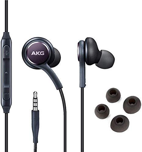 (2 unidades) Fones de ouvido OEM para fones de ouvido estéreo – Projetado pela AKG – para Samsung Galaxy S10 S9 S8 S7 S6/Note 5 7 8 9 e outros dispositivos Android, com microfone e botões de volume. [Roxo e preto]