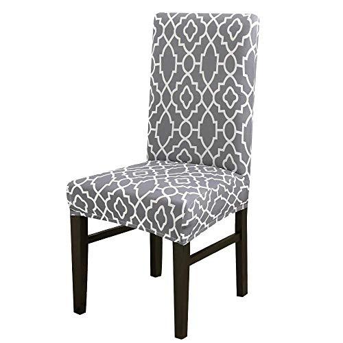 Willlly stoelhoes voor eetkamerstoel, elastisch, afneembare bekleding, wasbaar, grijs, 4 seizoenen, elastisch, universeel, voor stoel, 1 stuk, 2 stuks