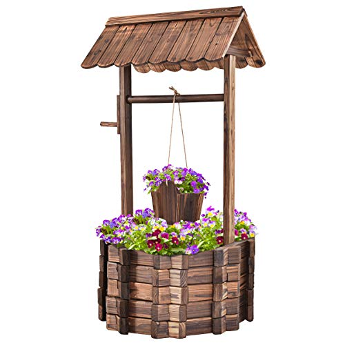 Safstar Outdoor Wishing Well Planter, Wooden Rustic Flower Planter w/Hanging Bucket, Outside Decorations for Yard Garden Patio