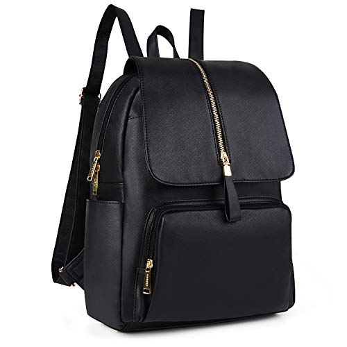 Leather Backpack,COOFIT Girl Leather Backpack Faux Leather Backpack Women Backpack for Girls Schoolbag Casual Daypack School Backpacks Bag Satchel Black Backpacks for Women