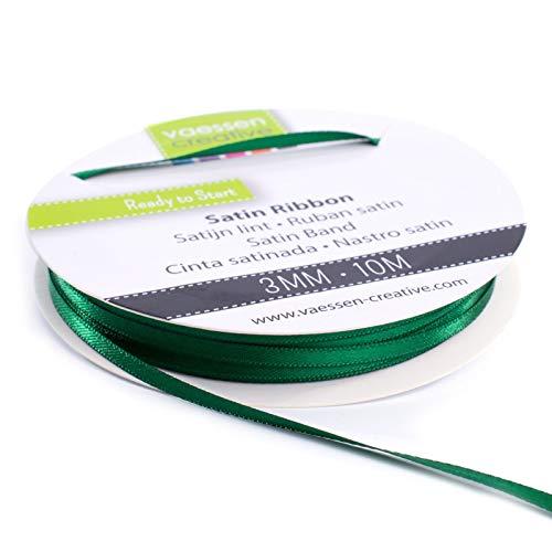 Vaessen Creative Cinta Satinada, 3mm x 10m, Brillo Elegante para Crear Tarjetas, Scrapbooks, Envoltorios de Regalos y Otros Proyectos de Manualidades, Verde Oscuro