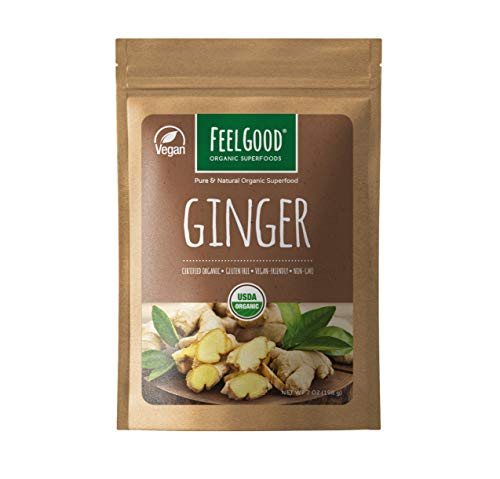 Organic Ginger Powder (7oz) | USDA Certified | Lab Tested for Purity | Can Help With Nausea, Bloating, Indigestion and Acid Reflux | Gluten Free, Non-GMO & Vegan Friendly | By Feel Good Superfoods