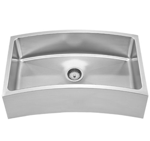 Whitehaus Collection WHNAPCV3218 Noah's Collection Kitchen Sink, Brushed Stainless Steel