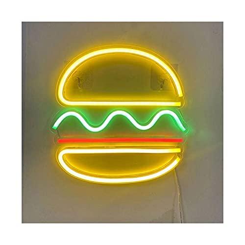 PROWADZONY Neonowe Lampy Lampy Neonowe Znaki Pizza Hamburger Design Sypialnie Kuchnia Jadalnia Samochody Restauracje Dekoracja Neon Neon Lampa Płyta Oświetlenie handlowe (Emitting Color : Hamburger)