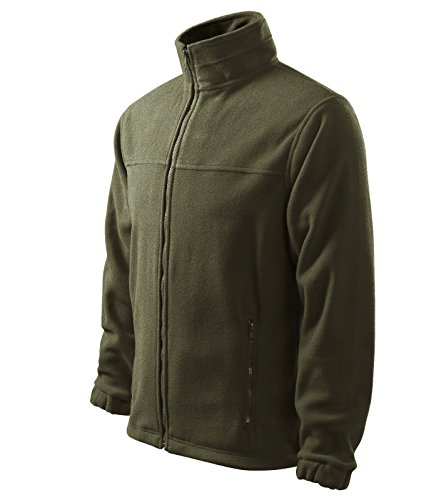 Herren Fleece Jacke Hochwertige Fleecejacke Anti-Pilling (L, Military)