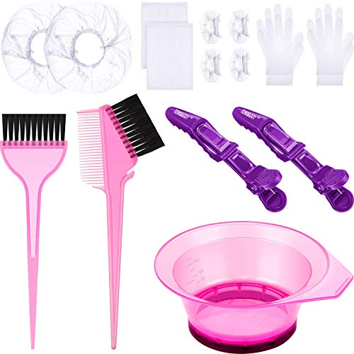 17 Pieces Hair Dye Coloring Kit, Hair Coloring Brush, Hair Tinting Bowl, Disposable Gloves, Ear Covers, Shower Caps,Disposable Shawls and Hairdressing Clips for Hair Dye and Salon Use