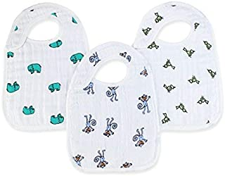 "aden + anais Snap Bib, 100% Cotton Muslin, Soft Absorbent 3 Layers, Adjustable, 9"" X 13"", 3 Pack, Jungle Jam, Elephants and Monkeys"